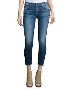 The Ankle Skinny Jeans W/Raw Hem, Bright Indigo Stretch at CUSP.