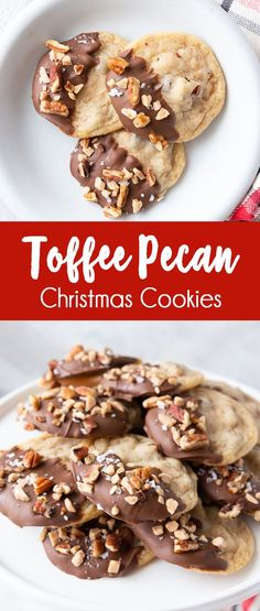 Toffee Pecan Christmas Cookies When it comes to Christmas cookies, these are my absolute favorite. They are soft and tough but have a great texture with the various mix-ins such as toffee, salt, pecans and chocolate. Chocolate Chip Cookies, Toffee Cookies, Buttery Cookies, Xmas Cookies, Chocolate Toffee, Easy Christmas Cookies, Best Holiday Cookies, Holiday Candy, Chocolate Dipped