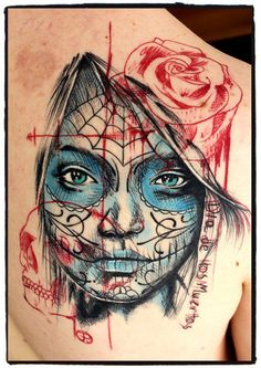 Jacob Pedersen sugar skull tattoo.. I want a sugar skull girl. .. after my wings are finished. ... maybe. ...