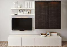 meuble-besta-ikea-système-modulable-blanc-marron-foncé