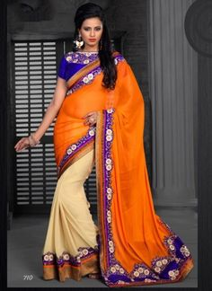 Orange And Cream Designer Half N Half Party Wear Saree http://www.angelnx.com/