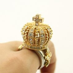 Free Shipping Rhinestone Inlaid Stereo Crown Shape Ring from Woman Fashion on Storenvy
