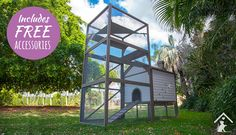 Meow Manor Cat House and Cat Run - A safe, luxury outdoor cat enclosure getaway where your cat can climb, play and relax in a hammock.