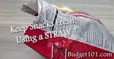 Keep Snacks Fresh with Straws