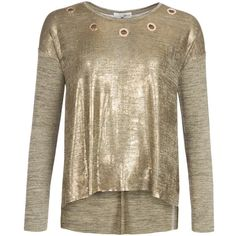 Relish Cutout T-Shirt (£53) ❤ liked on Polyvore featuring tops, t-shirts, gold metallic, women, cutout tops, cut loose tops, metallic tee, metallic t shirt and loose fit tops