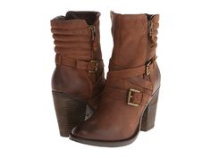 Strap and buckle accented boots from Steve Madden. #heels #boots #shoelove