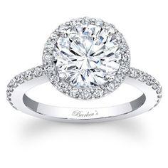 Barkev's Designer 14k White Gold 1.50ct TDW Diamond Halo Ring (F-G, SI1-SI2)