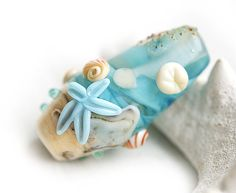 Beach glass lampwork bead Blue handmade focal bead  by MayaHoney, $25.00