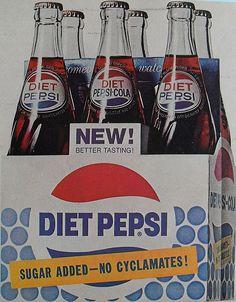 1960s DIET PEPSI COLA 6 PACK BOTTLES Vintage Advertisement by Christian Montone, via Flickr