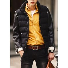 Clothes Type: Down & Parkas  Material: Cotton, Faux Leather, Wool  Collar: Mandarin Collar  Clothing Length: Regular  Style: Fashion  Weight: 1.2KG  Sleeve Length: Long Sleeves  Season: Winter  Package Contents: 1 x Coat  SizeBustLengthShoulder WidthSleeve Length M98654361 L1...