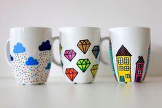 Los 365. taza pintada a mano personalizado. las por funkytiles