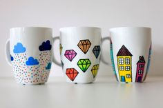 The 365  custom hand painted mug  clouds and by funkytiles on Etsy, $21.00