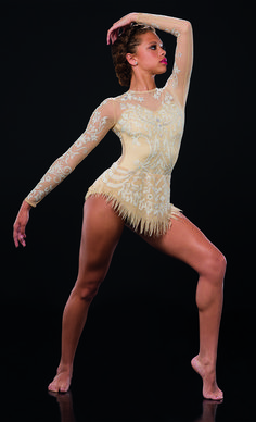 Leotard With Attached Skirt: Nude sheer mesh and nude spandex ; Trim: White caviar bead print and rhinestones ; Modern Contemporary Dance, Contemporary Dance Costumes, Modern Dance, Lyrical Dance, Jazz Shoes, Dance Instructor, Dance Tights, Ballet Costumes, Dance Outfits