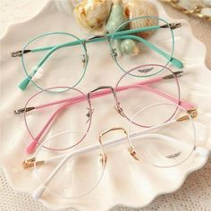 Vintage Candy Color Round Glasses from Fashion Kawaii [Japan & Korea] Cute Glasses, Girls With Glasses, Glasses Case, Circle Glasses, Glasses Frames Trendy, Glasses Shop, Cat Eye Colors, Lunette Style, Mode Lookbook