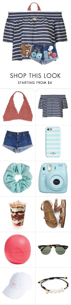 """Summmaaa "" by arieannahicks on Polyvore featuring Youmita, Topshop, Levi's, Kate Spade, Fujifilm, Birkenstock, Eos, Ray-Ban, TOUS and Kendra Scott"