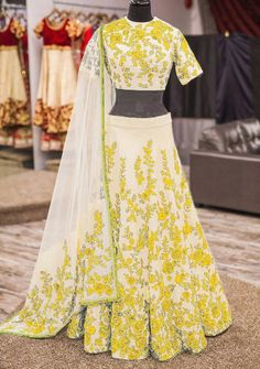 Bhagalpuri+Silk+Machine+Work+Cream+&+Yellow+Semi+Stitched+Lehenga+-+NDG-Y at Rs 1299
