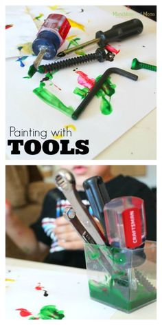 Painting with Tools- a preschool art lesson that is very interesting!