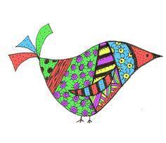 fun bird - hand drawn, colored in PSE