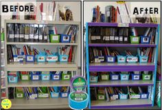 A little Duct Tape can totally change the look of a classroom library! LOVE!