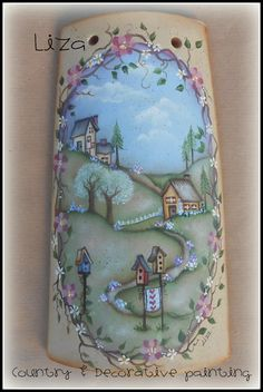 Home is where the heart is Glass Bottle Crafts, Glass Bottles, Handmade Crafts, Diy And Crafts, Decoupage, Country Paintings, Roof Tiles, Tile Art, Fabric Painting