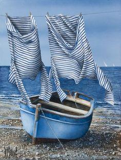 Art Plage, Naive Art, Life Pictures, Clothes Line, Beach Art, Seaside Art, Summer Art, Whimsical Art, Art Lessons