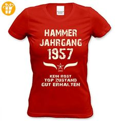 Girlie Tshirt zum Print-Motiv: Hammer Jahrgang 1995 Farbe: rot Gr: S