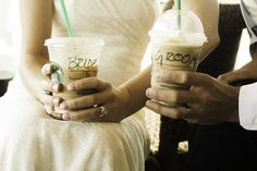 "Can we please stop for our free Starbucks on the way to the honeymoon just so I can have the cup with ""Bride"" on it! lol"