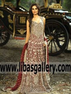 Outstanding Falu Red Celosia Bridal Anarkali Gown Dress with Exquisite Embellishments for Wedding and Special Occasions -#MEHDI | Step up your formal Wedding style with this stunning RED Bridal gown!A great Bridal dress, www.libasgallery.com #UK #USA #Canada #Australia #France #Germany #SaudiArabia #Dubai #UAE #NewZealand #Austria #Switzerland #Denmark #Ireland #Mauritius #Netherlands #BridalAnarkaliDresses #AnarkaliDresses #PakistaniAnarkali #AnarkaliSuits #DesignerAnarkali…