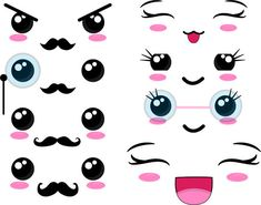 Kawaii Faces SET 2 Chibi faces monogram Digital Clip Art Graphics Personal or Commercial Use digital design for iron on vinyl is part of Png Files Kawaii Faces Set Digital Clip Art Graphics - TeaBreakArt Griffonnages Kawaii, Kawaii Shop, Kawaii Doodles, Cute Kawaii Drawings, Image Clipart, Cute Clipart, Cartoon Faces, Iron On Vinyl, Easy Drawings