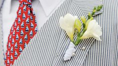 Freesia Boutonniere - The Groom's Boutonniere - Southern Living - A simple stem of freesia lets seersucker…