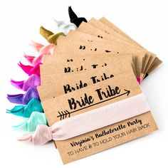 Our hair tie cards are the perfect favor for your boho bachelorette! EACH FAVOR SET INCLUDES Bachelorette Favors, Personalized Favors, Hair Ties, Your Cards, Dance, Bride, Party, Ribbon Hair Ties, Dancing