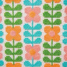 Perfectly Retro Floral Cross Stitch