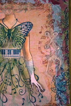 """Vintage styled #embellished #ArtJournal page. (I love the #butterfly stamp and piano key """"belt"""" details!)"""