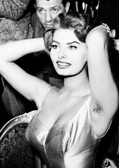 Sophia Loren, 1950's In parts of Europe, women's underarm hair wasn't considered so taboo. For years, Sophia Loren unabashedly revealed her au naturel armpits.