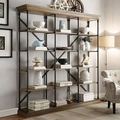 Industrial Rustic Farmhouse IKEA Hack See More HomeVance Cresthill Wide Bookshelf