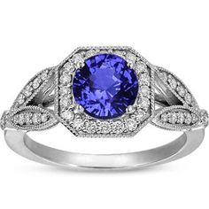 18K White Gold Sapphire Luxe Victorian Split Shank Halo Ring, top view    Engagement ring? yes please. blue sapphire instead of diamond? i like.