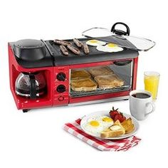 Amazon.com: Nostalgia BSET300RETRORED Retro 3-in-1 Family Size Breakfast Station: Kitchen & Dining