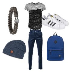 """An outfit for the boys"" by lucia-van-den-heever ❤ liked on Polyvore featuring Boohoo, adidas, Herschel Supply Co., Bickley + MItchell, men's fashion and menswear"