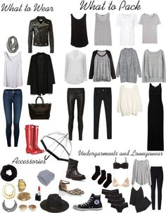 Packing Light in a Carry on - Dublin Edition : The process of packing light is a skill that can be very beneficial. A packing list for Dublin that includes at least 30 outfits and will fit in a carry-on. 30 Outfits, Mode Outfits, Fall Outfits, Summer Outfits, Travel Wardrobe, Capsule Wardrobe, Look Fashion, Womens Fashion, Petite Fashion