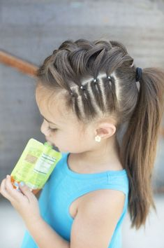 hair in 2019 girl hair dos, hair styles, curly hai Girls Hairdos, Lil Girl Hairstyles, Girls Braids, Hairstyles For School, Pretty Hairstyles, Easy Hairstyles, Hair Girls, Cute Hairstyles For Kids, Cute Girl Hair