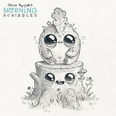 Chris Ryniak - morning scribbles - cute and funny art Cute Monsters Drawings, Cartoon Monsters, Cute Animal Drawings, Pencil Art Drawings, Little Monsters, Disney Drawings, Cartoon Drawings, Easy Drawings, Art Sketches