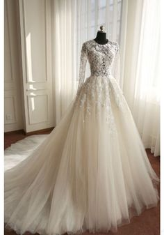 Ivory Tulle Chaple Train Wedding Dress with Long Sleeves - Simi Bridal