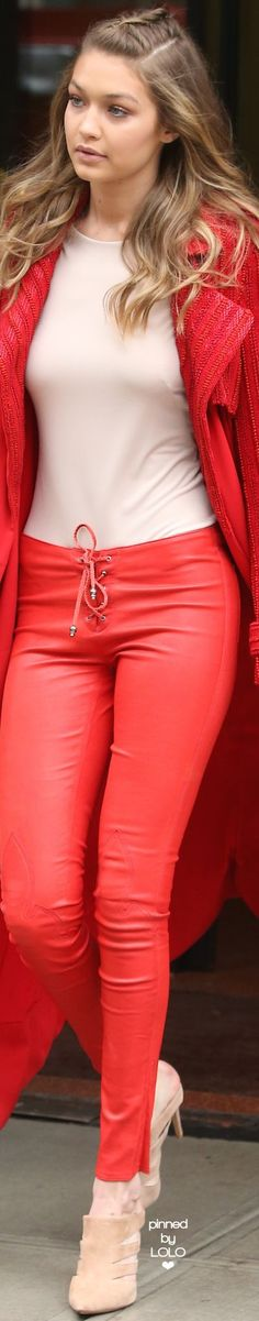 @roressclothes clothing ideas #women fashion red trousers, jacket