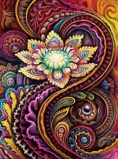 Flower Power, painted by Randal Roberts during CoSM's Visionary Painting Intensive 2015 Pintura Tribal, Detail Art, Fractals, Fractal Art, Zentangles, Zentangle Patterns, Powerful Art, Yoga Meditation, Blankets Online