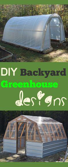 DIY Backyard Greenhouse designs- Amazing ideas for backyard greenhouses.  Tips, tricks, and greenhouse designs and tutorials.