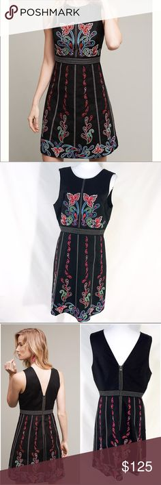 """Maeve Chennai Floral Embroidery Black Dress NWOT ANTHROPOLOGIE - MAEVE - CHENNAI Floral Embroidery Black Dress 14 XL $228 NWOT       Description Such a stunning dress!!! A classically structured piece complete with vibrant paisley and floral embroidery. From Maeve. Cotton, spandex woven Embroidered accents. Zip back. Dry clean. Regular falls 36.75"""" from shoulder.  Size 14   Measurements Bust 41"""". Natural Waist 33"""". Drop waist 35"""". Hips 43""""   Condition New without tag. Anthropologie Dresses"""