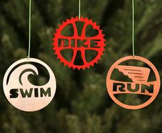 Sweet triathlon ornaments Swim, Bike, Run triathlon Christmas ornaments are finished on both sides, and come with hangers. Sold in set. Ironman Triathlon, Triathlon Training, Mountain Bike Shoes, Mountain Biking, Triathlon Motivation, Triathalon, Bike Brands, Road Bike Women, Bike Reviews