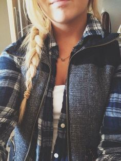 Plaid Flannel with White Cami Grey Vest