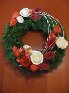 "Képtalálat a következőre: ""dušičkový věnec"" Beautiful Flower Arrangements, Floral Arrangements, Beautiful Flowers, Christmas Wreaths, Christmas Decorations, Holiday Decor, Cemetery Decorations, All Saints Day, Funeral Flowers"