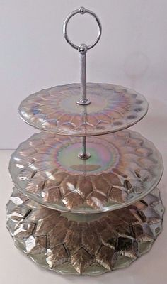 "3 Tier Serving Tray - Mother Of Pearl W/Gold Leaf Look - 15"" Tall"